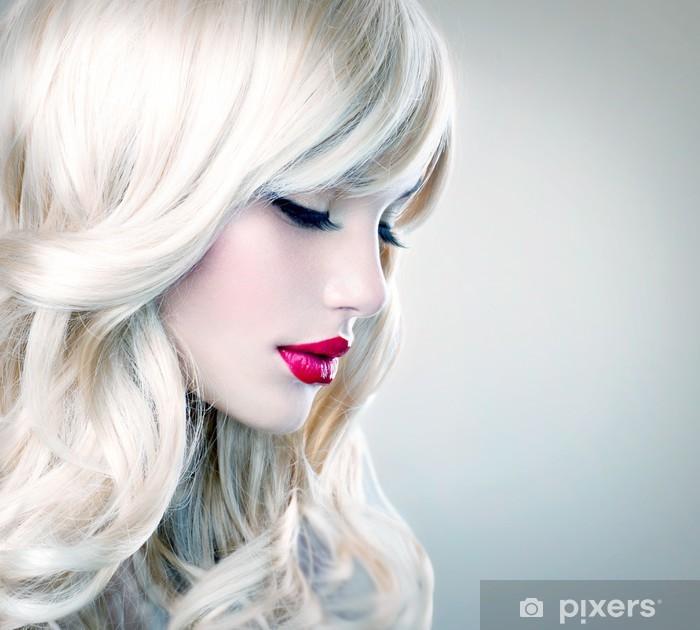 Carta da Parati in Vinile Bella ragazza bionda con lunghi sani capelli  mossi. Capelli bianchi 93fe6e6748f9