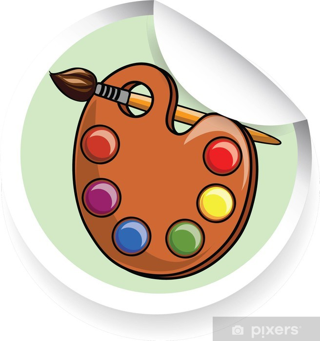 Sticker Autocollant Avec Palette De Dessin Animé Avec Des Peintures Et Des Pinceaux Pixerstick