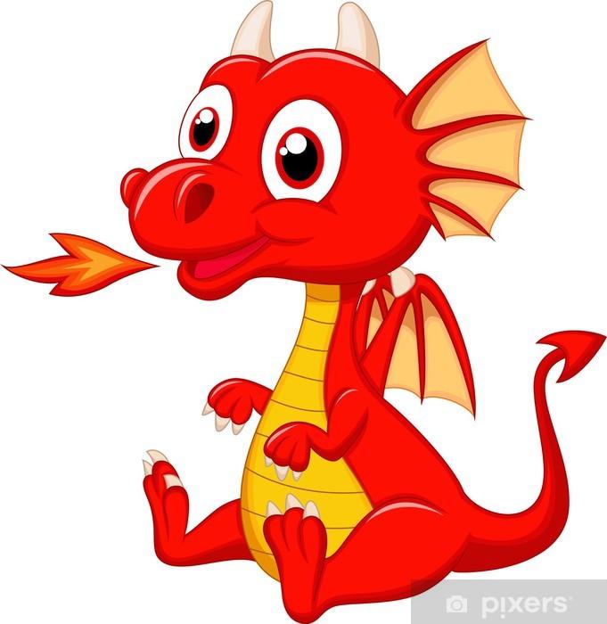Cute baby dragon cartoon Pixerstick Sticker - Wall decals