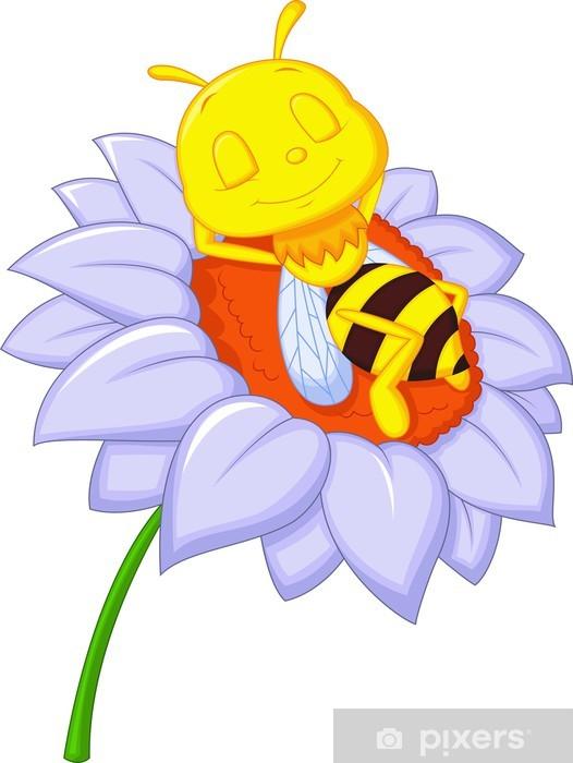 Naklejka Pixerstick Mała śpi bee na dużym kwiatem - Inne Inne