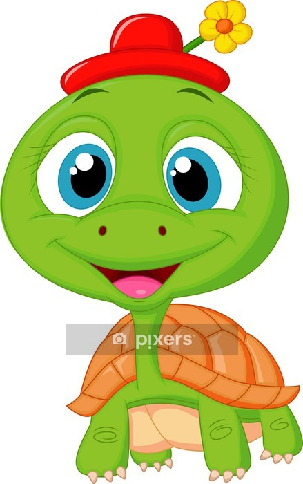 Cute Turtle Cartoon Wall Decal Pixers We Live To Change