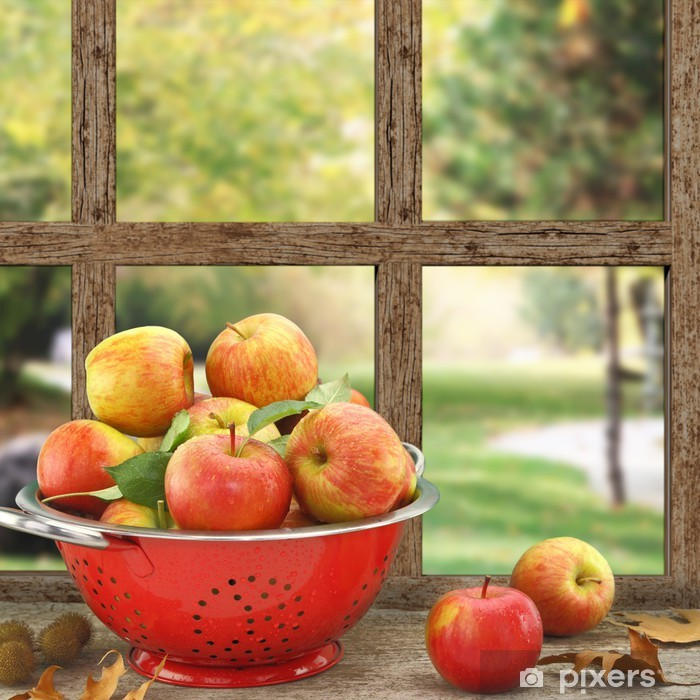 Apples in colander on wooden window with view Pixerstick Sticker - iStaging