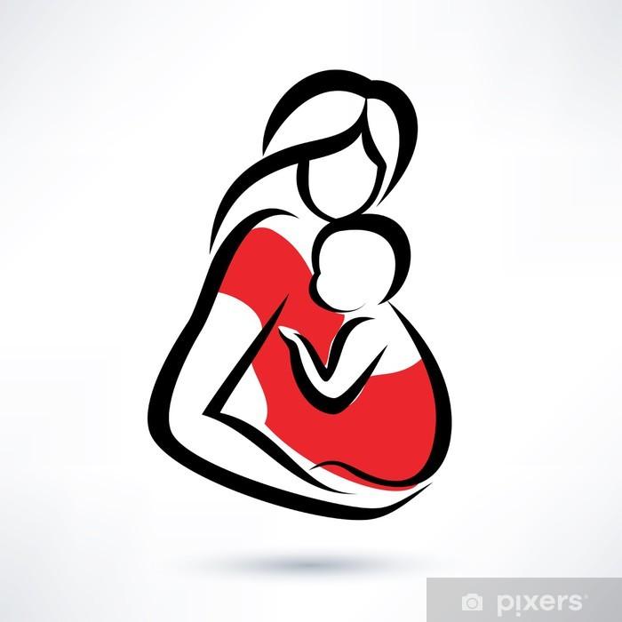Plakát Matka drží dítě v šátku, vektor symbol - Nemluvňata