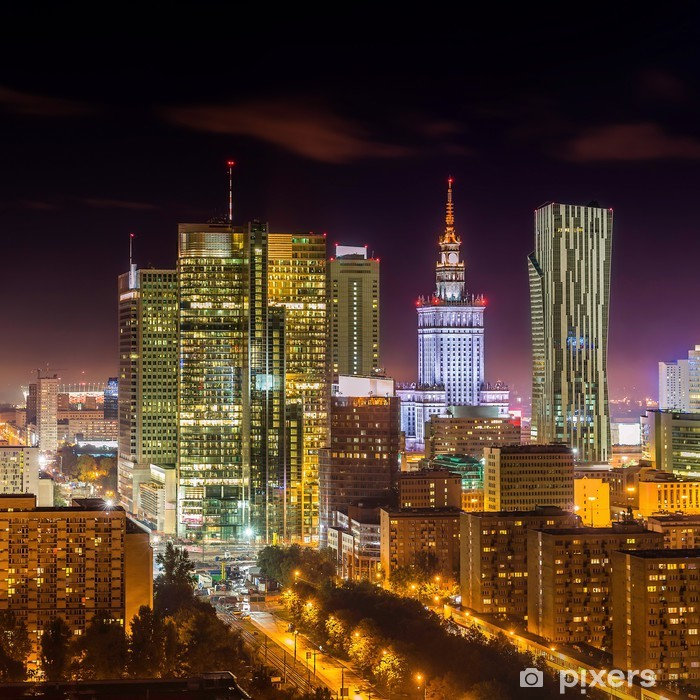 Vinyl Fotobehang Centrum van Warschau 's nachts - Thema's