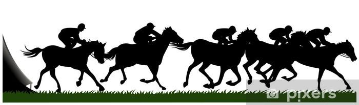 Papier peint vinyle Silhouette des courses de chevaux - Sports individuels