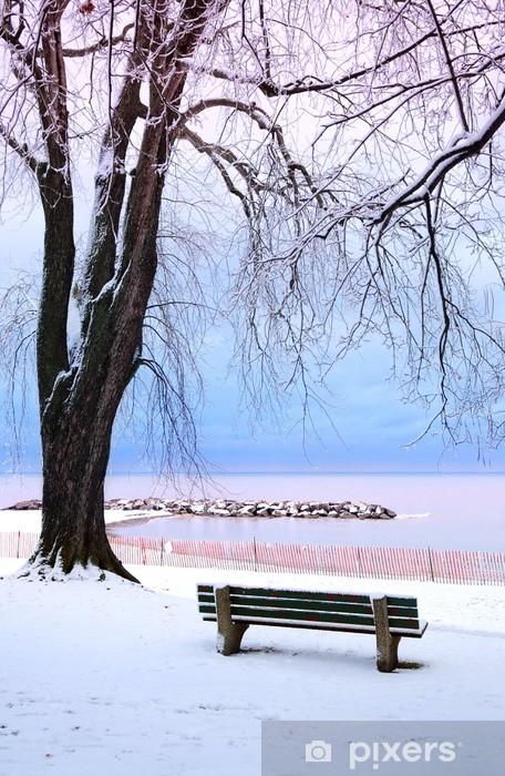 Fototapete Winter Park Mit Einer Bank Mit Schnee Bedeckt Pixers