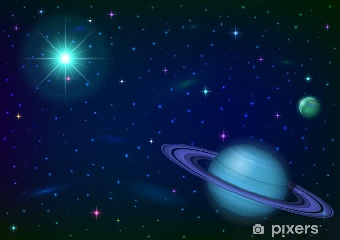 Papier peint vinyle Fond de l'espace avec la planète et le soleil - Planètes