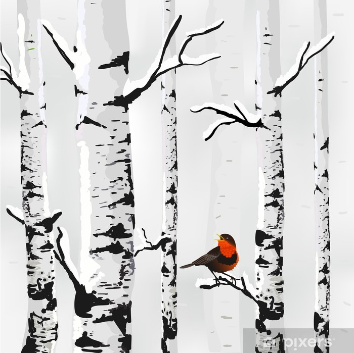 Birch in snow, winter card in vector Self-Adhesive Wall Mural - Styles