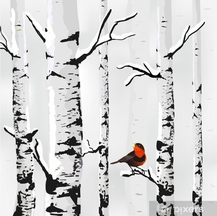 Birch in snow, winter card in vector Vinyl Wall Mural - Styles