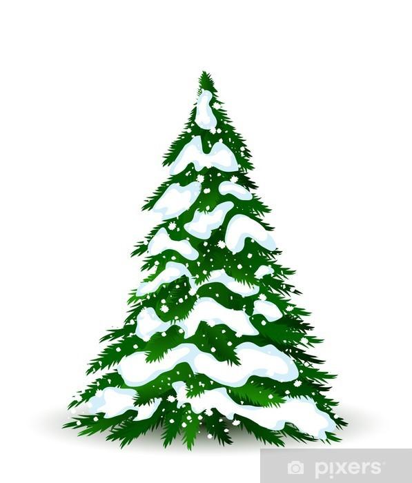 Fototapete Weihnachtsbaum Im Winter Vektor Karte Fur Design