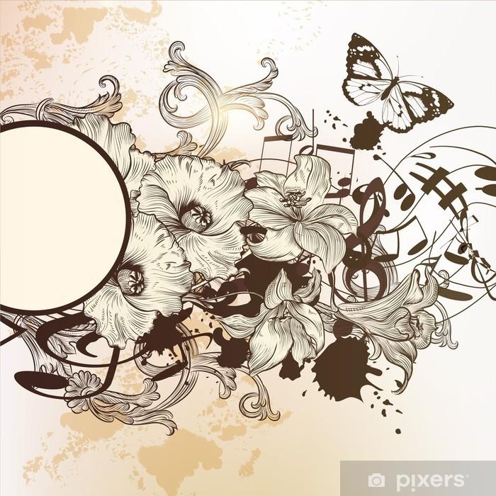 Plakat Archiwalne tła z ręcznie rysowane ozdoba i maku FLO - Świętowanie