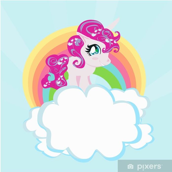 Card with a cute unicorn rainbow in the clouds. Washable Wall Mural - Themes