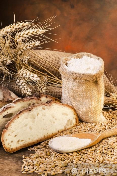 Sticker Pixerstick Sacco di farina con pane e spighe - Thèmes
