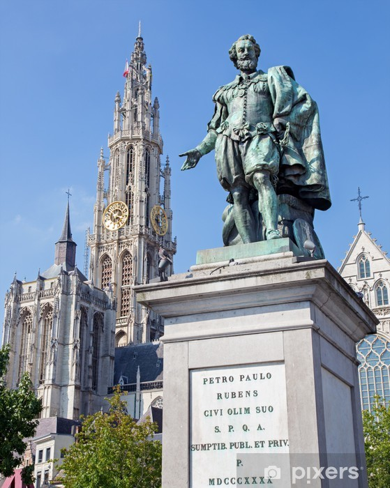 Fotobehang Antwerpen Standbeeld Van Schilder Pp Rubens