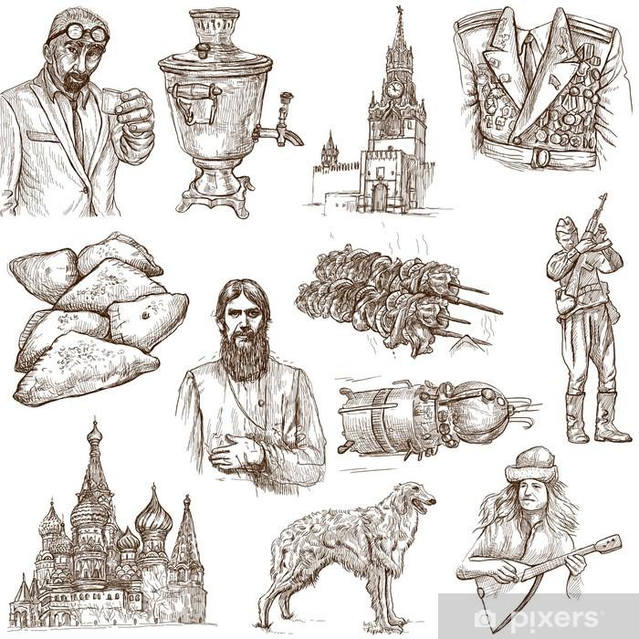 Fototapeta winylowa Rosja (zestaw nr 2) - pełnowymiarowa ręcznie rysowane ilustracje. - Miasta azjatyckie
