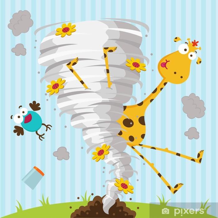 Pixerstick Sticker Giraffe vogel en tornado - vector illustratie - Zoogdieren