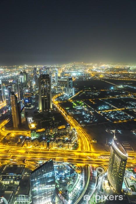 Vinylová fototapeta Dubaj v centru noční scéna s městskými světly, - Vinylová fototapeta
