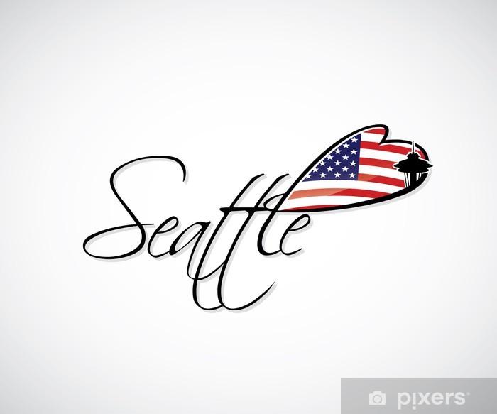 Sticker Pixerstick Seattle lettrage - Amérique