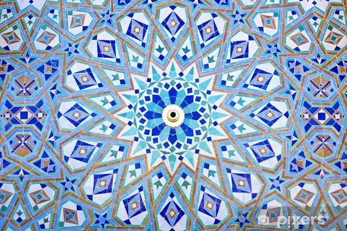 Vinilo para Nevera Mosaico Oriental en la mezquita de Hassan II en Casablanca, Marruecos - Marruecos