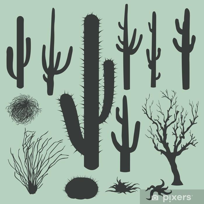 Poster en cadre Ensemble de vecteur de silhouettes de cactus et autres plantes du désert - Signes et symboles