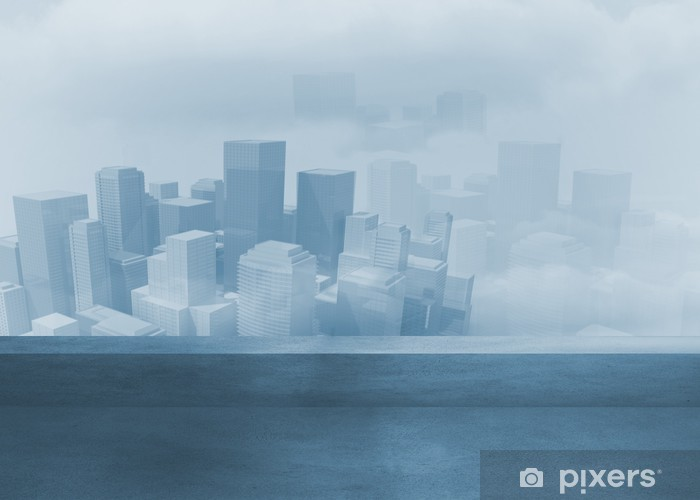 Cityscape in the fog Pixerstick Sticker - Backgrounds