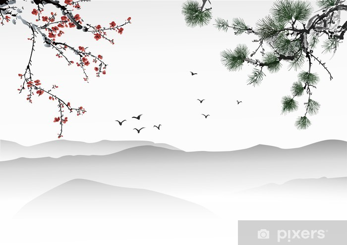 Papier peint vinyle Peinture chinoise - Thèmes