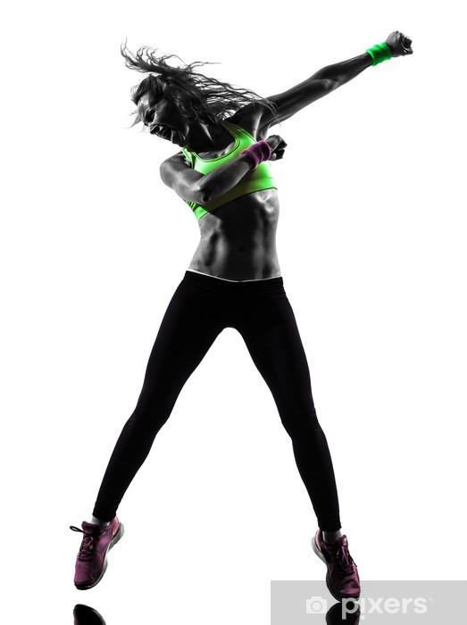 Fototapet av Vinyl Kvinna utövar fitness zumba dans silhuett - Teman