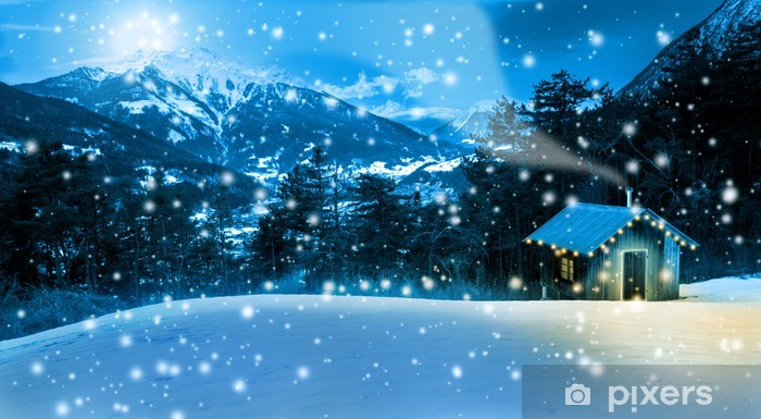 Sticker Pixerstick Christmas Cottage dans les hautes montagnes - Fêtes internationales