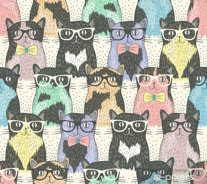 Seamless pattern with hipster cute cats for children Pixerstick Sticker - Destinations