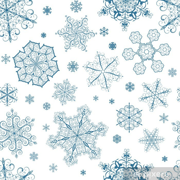 Christmas seamless pattern of dark blue snowflakes Poster - Themes