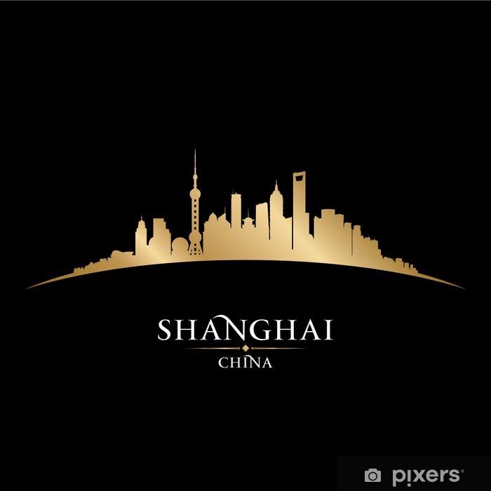 Papier peint vinyle Shanghai Chine toits de la ville silhouette fond noir - Villes d'Asie