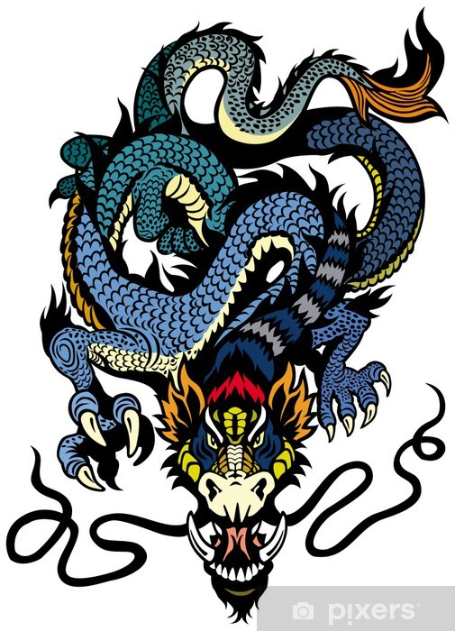 Fototapeta winylowa Blue dragon tattoo - Naklejki na ścianę