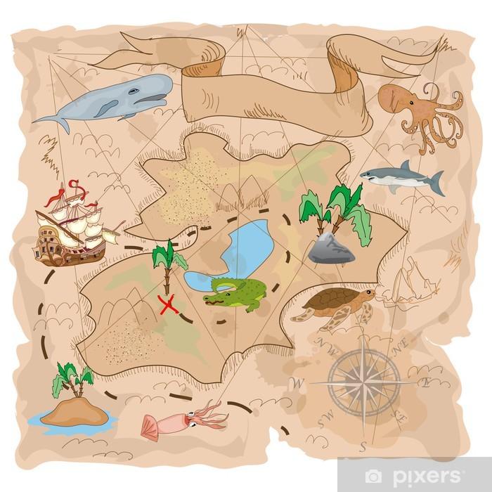 Papier peint vinyle Carte au trésor île - Bateaux