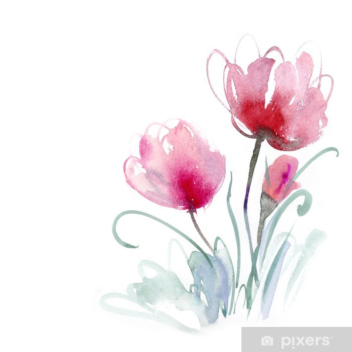 Watercolor flower Vinyl Wall Mural - Backgrounds