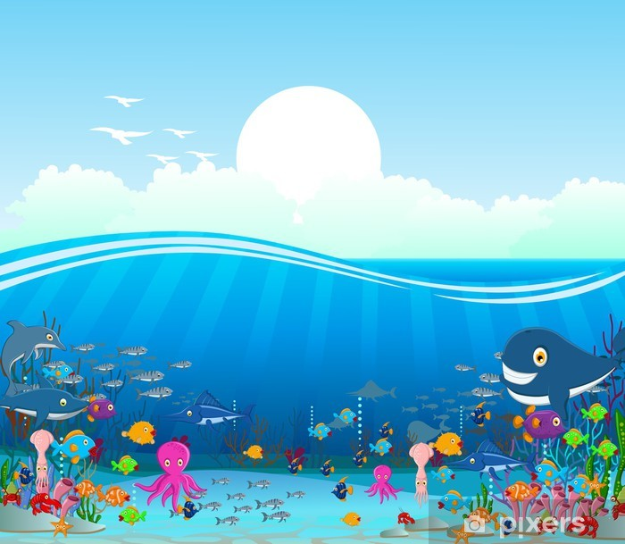 Sea life cartoon background Pixerstick Sticker - Themes