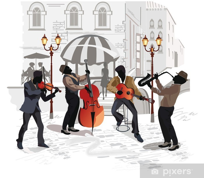 Katukahvila ja muusikot Vinyyli valokuvatapetti -