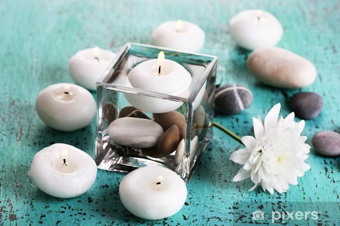 Koristeellinen maljakko kynttilöillä, vedellä ja kivillä Pixerstick tarra - Destinations