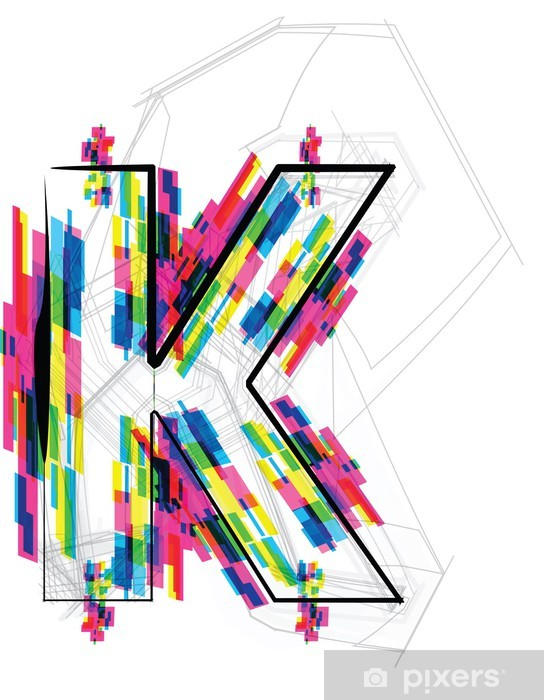 Font Illustration. LETTER K. Vector illustration Pixerstick Sticker - Themes
