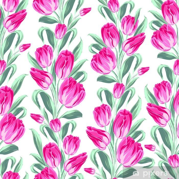 Fotomural Estándar Patrón sin fisuras con los tulipanes del resorte de la tela. - Flores