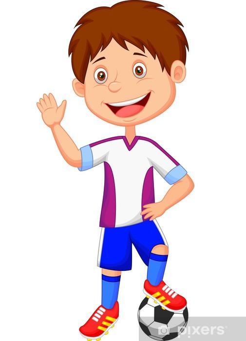 d5cb0695 Fototapet Tegneseriegutt som spiller fotball • Pixers® - Vi lever ...