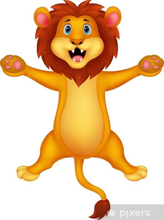 Nálepka Pixerstick Šťastný lev karikatura na lyžích - Savci