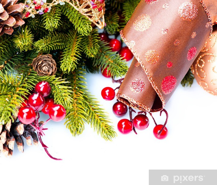 Christmas Decoration Holiday Decorations Isolated on White Vinyl Wall Mural - International Celebrations