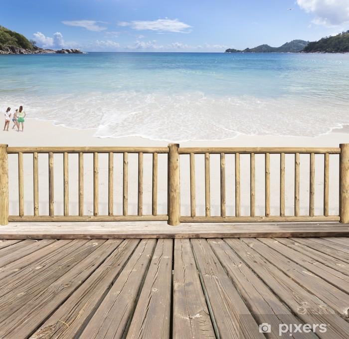 Terrasse Balcon Avec Vue Sur Mer Aux Seychelles Pixerstick Sticker    Holidays