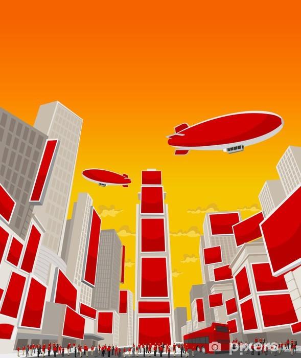 Papier peint vinyle Personnes portant des vêtements rouges à Times Square, Manhattan - Paysages urbains
