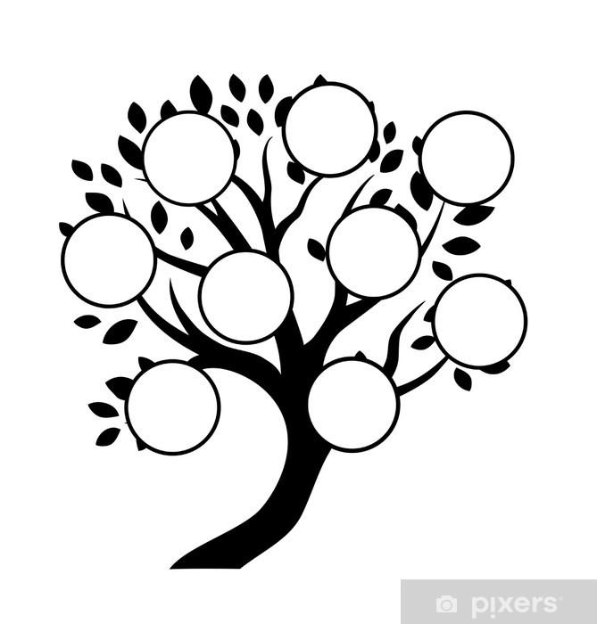 Fototapeta zmywalna Deseń drzewo genealogiczne, wstawić swoje zdjęcia, znaki - Znaki i symbole