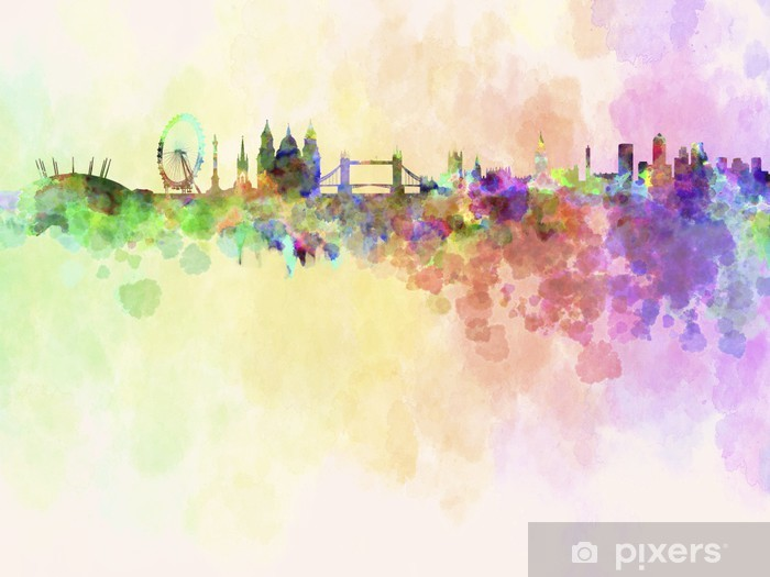 London skyline in watercolor background Washable Wall Mural - Styles
