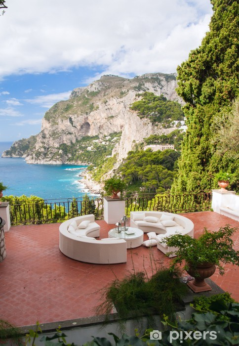 View from a luxurious terrace on the island of Capri, Italy.. Pixerstick Sticker - Europe