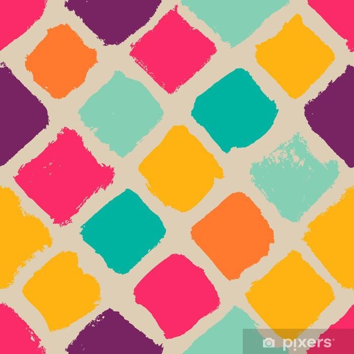 Plakát Ručně kreslená čtverce bezešvé vzor - Pozadí