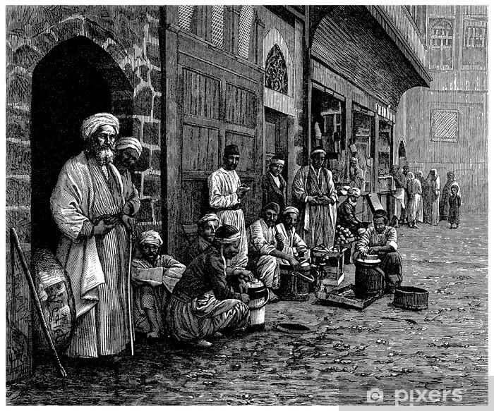 Vinyl Fotobehang Trad. Souk - Bazar - Arabië (View 19de eeuw) - Midden Oosten