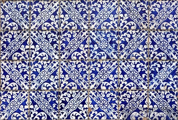 Papier peint vinyle Lisbonne azulejos - Carreaux